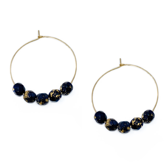 hoop earrings 35 or 30 mm | 14k gold-filled | black