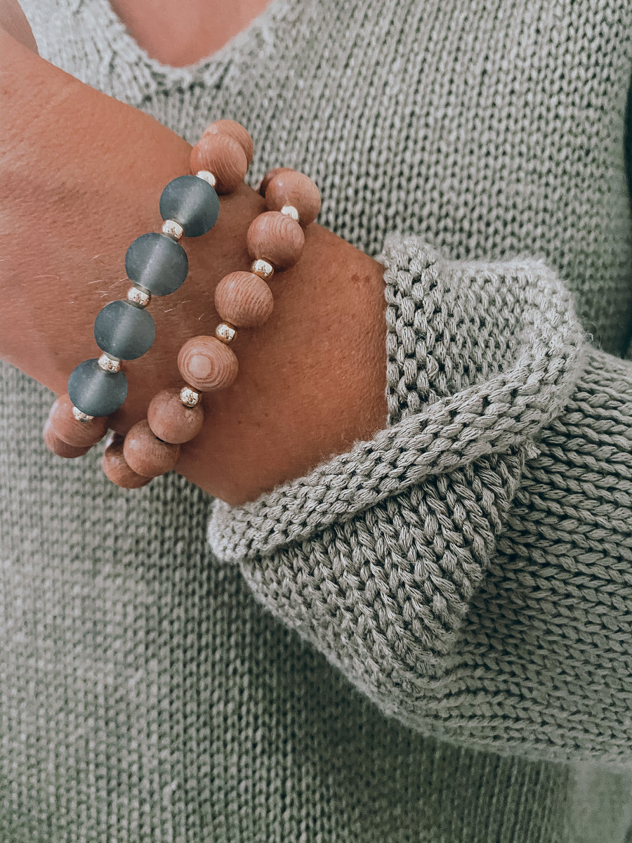 the ava | slate blue | rosewood stack