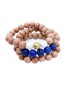 rosewood beaded bracelets | blue, white & gold, rosewood | three