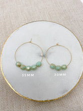 Load image into Gallery viewer, hoop earrings 35 or 30 mm | 14k gold-filled | aqua