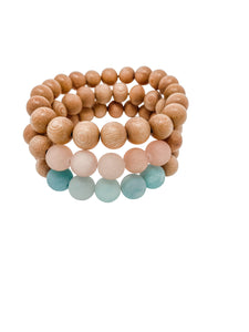 rosewood beaded bracelets | aqua, pink, rosewood | three