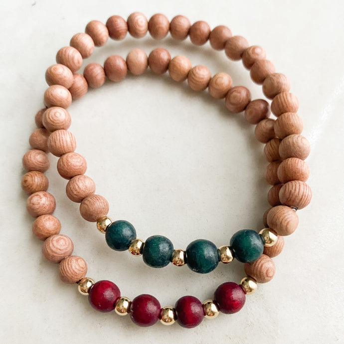 delicate | holiday collection | limited release | burgundy & emerald green | rosewood stack