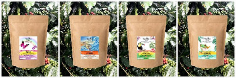 All four of Invito Coffees in compostable packaging