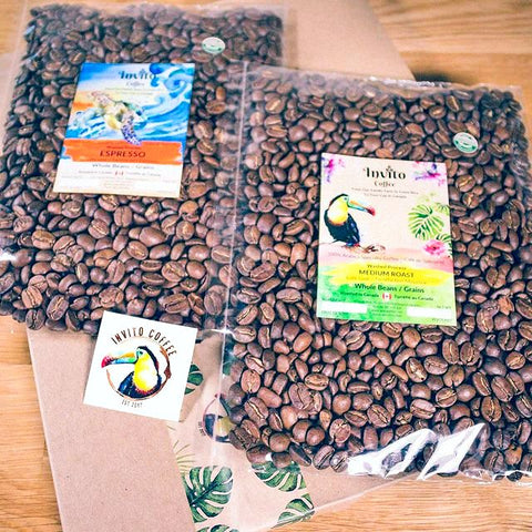 Invito Coffee in compostable cellophane packages