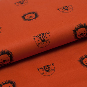 COGNAC TIGER AND LEOPARD  100% organic cotton  poplin