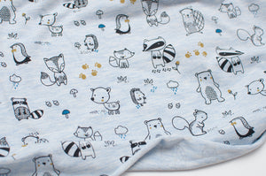 BLUE FOREST ANIMALS  cotton / poly / spandex  Jersey
