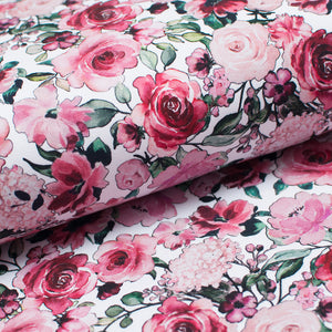 WHITE FLORAL cotton / spandex brushed organic french terry