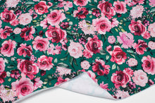 GREEN FLORAL cotton / spandex brushed organic french terry