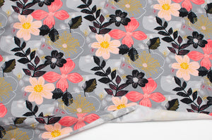 FLORAL GRAY cotton / spandex brushed organic french terry