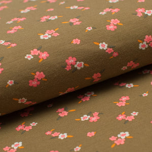 SMALL OLIVE FLOWER cotton / spandex organic jersey