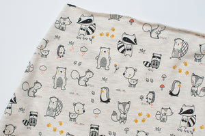 ECRU FOREST ANIMALS  cotton / poly / spandex  Jersey