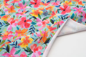 FLORAL COLORED LIGHT BLUE  cotton / spandex  french terry