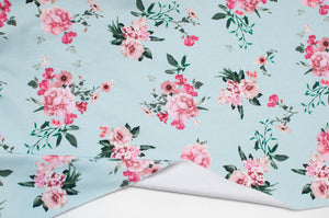 PALE BLUE BOUQUET cotton / spandex brushed organic french terry