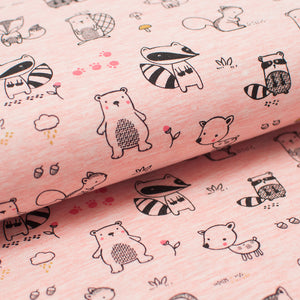 PINK FOREST ANIMALS  cotton / poly / spandex  Jersey