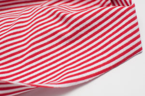 RED AND WHITE 3MM  cotton / spandex  Ribbing