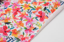 FLORAL COLORED WHITE BACKGROUND  cotton / spandex  french terry