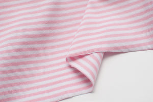 PINK AND WHITE 3MM  cotton / spandex  Ribbing