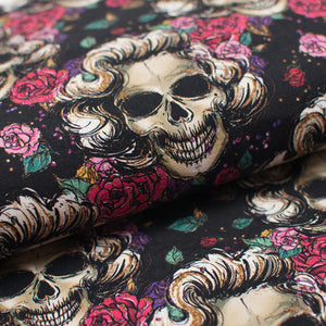 FLORAL SKULL cotton / spandex Jersey