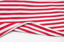 RED AND WHITE 10MM  COTTON / SPANDEX  DYED