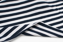NAVY AND WHITE 10MM  COTTON / SPANDEX  DYED