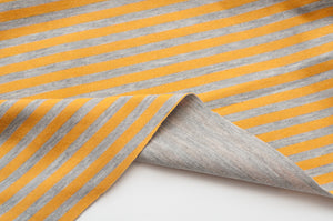 YELLOW AND GRAY cotton / spandex double-sided jersey