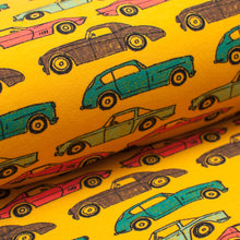 VOITURE VINTAGE JAUNE<br>coton/spandex<br>french terry organique brossé