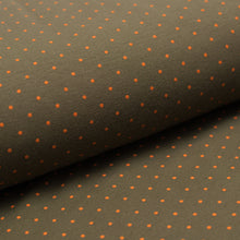 SMALL OLIVE DOT  cotton / spandex  organic jersey