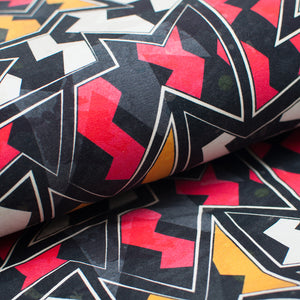 RED ABSTRACT cotton / spandex Jersey