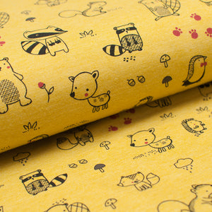 YELLOW FOREST ANIMALS cotton / poly / spandex Jersey