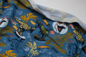DINO SKATE BLUE  cotton / spandex  french terry organic brushed
