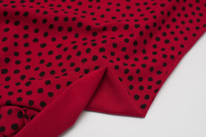BLACK AND RED DOT  cotton / spandex  organic jersey