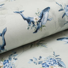 FLORAL WHALE bamboo / spandex french terry