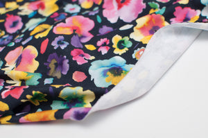 FLORAL WATERCOLOR  cotton / spandex  french terry