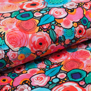 RADIANT FLOWERING  cotton / spandex  french terry