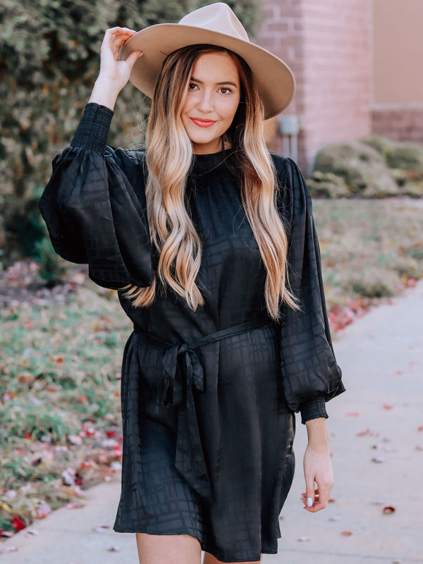 Sure Thing Black Long Sleeve Dress