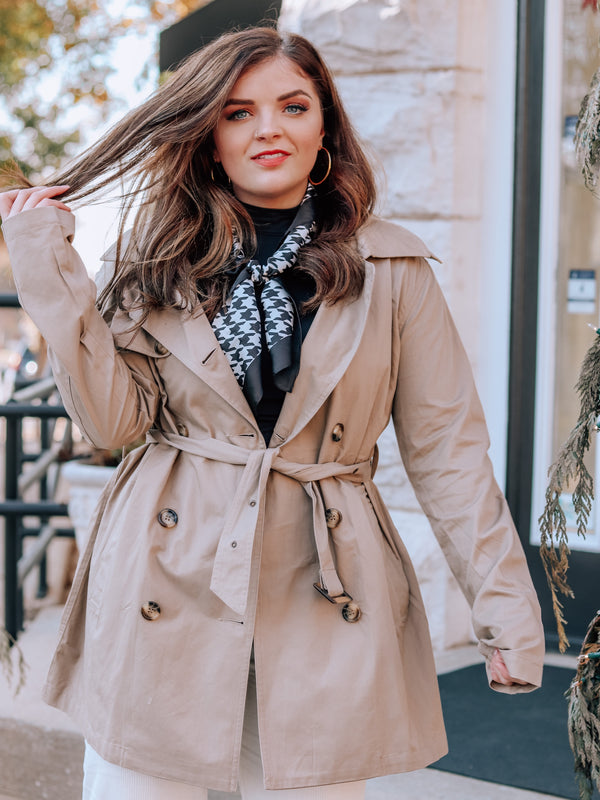 With You Khaki Long Trench Coat