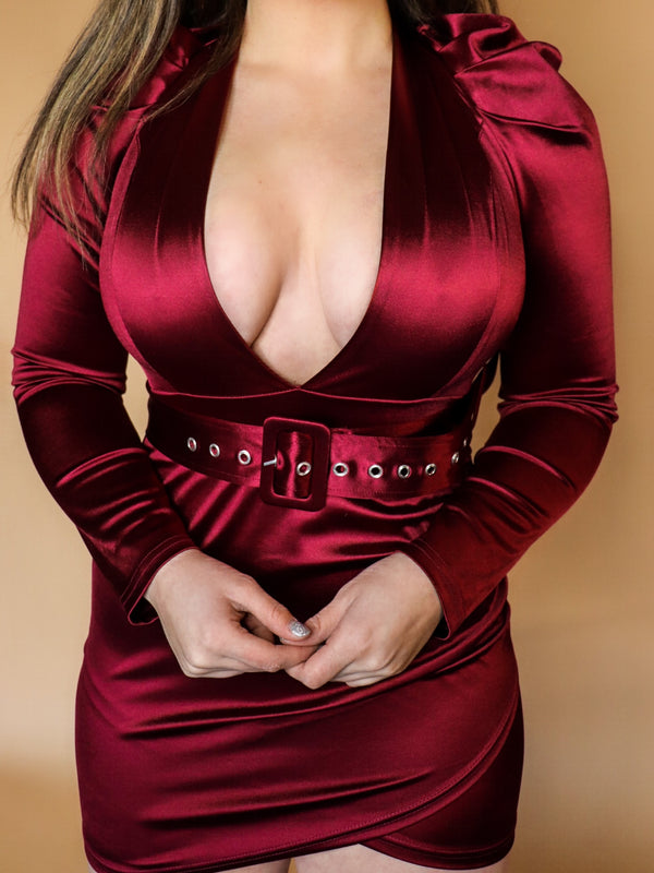 More Than Enough Burgundy Dress