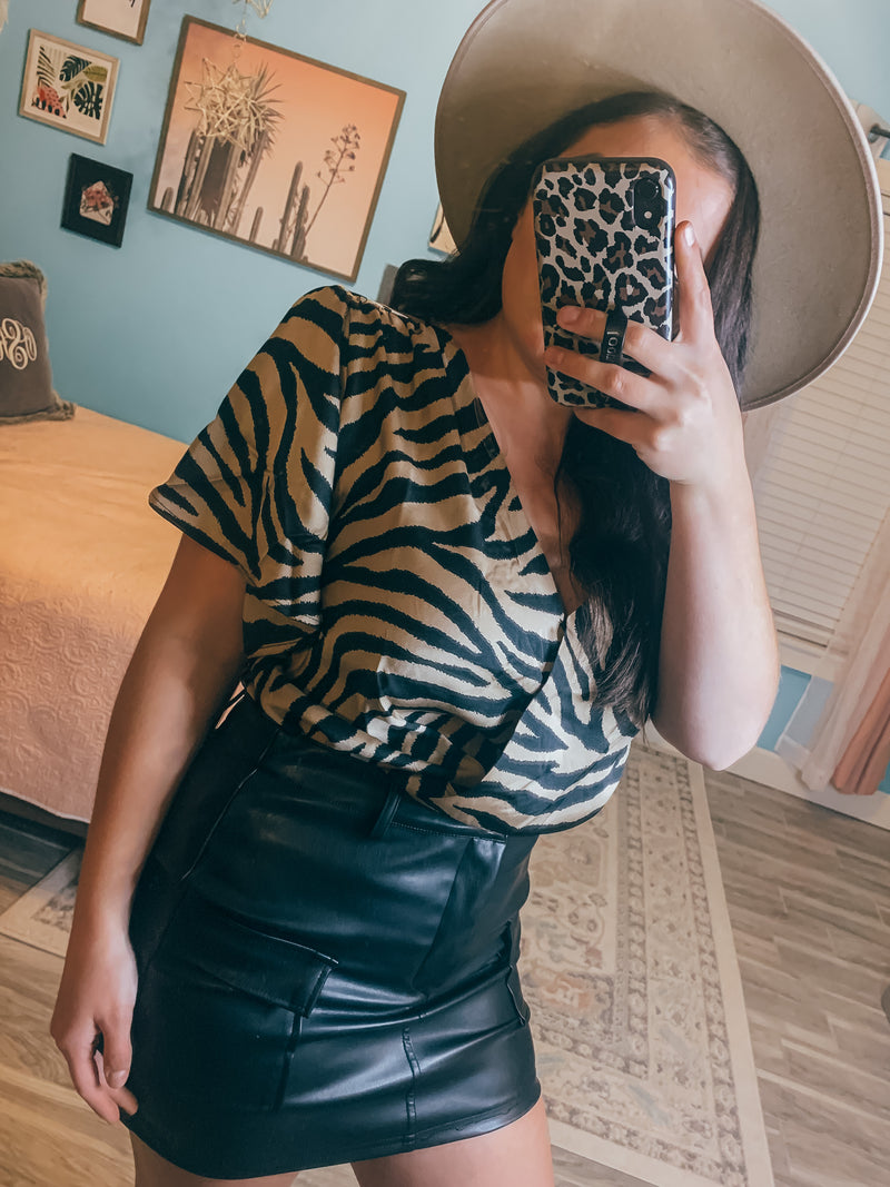 Know Me Black Leather Skirt