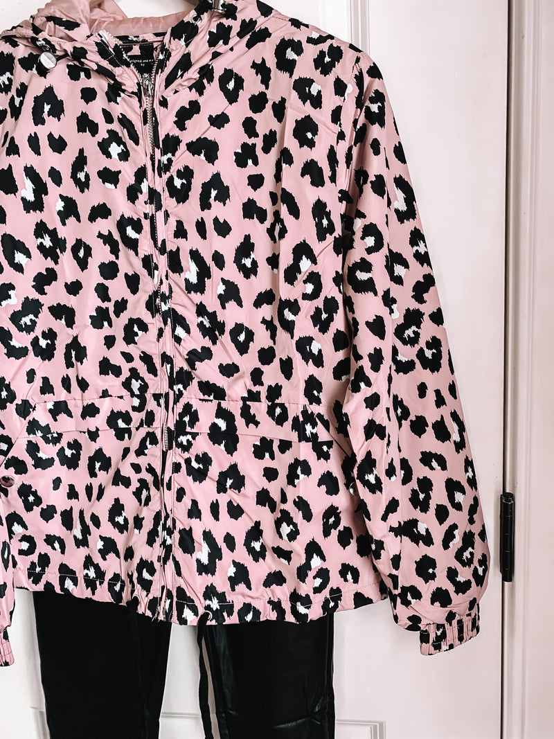 Walk Me Home Pink Leopard Windbreaker Jacket