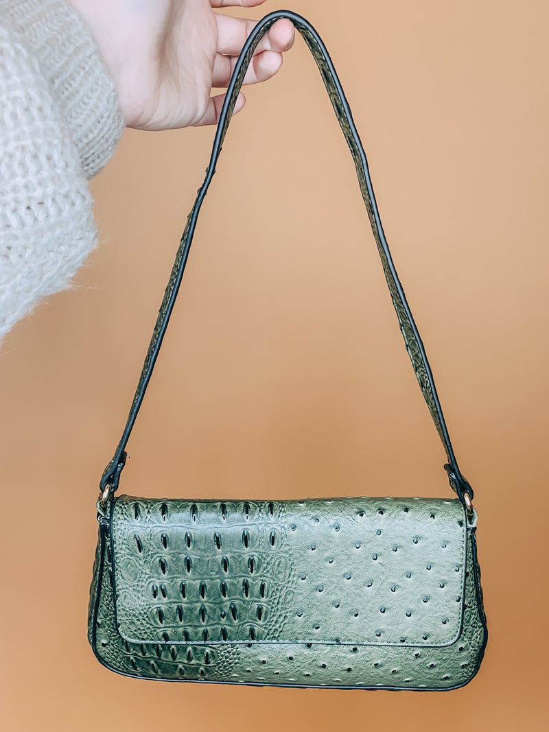 Do You Mind Olive Snakeskin Purse
