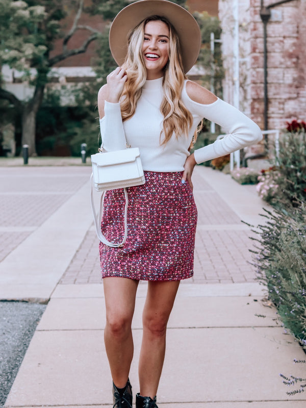 Let It Go Tweed Skirt