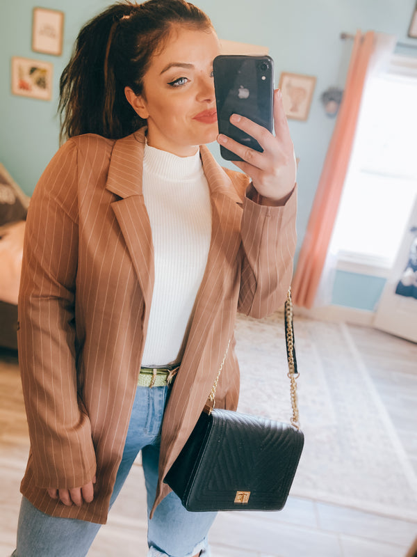Glam Girl Khaki Pin Stripe Blazer Jacket