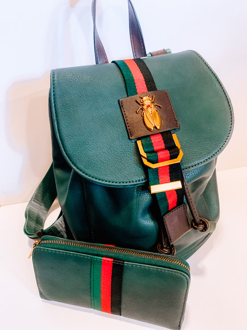Happy Anywhere Hunter Green Backpack & Wallet
