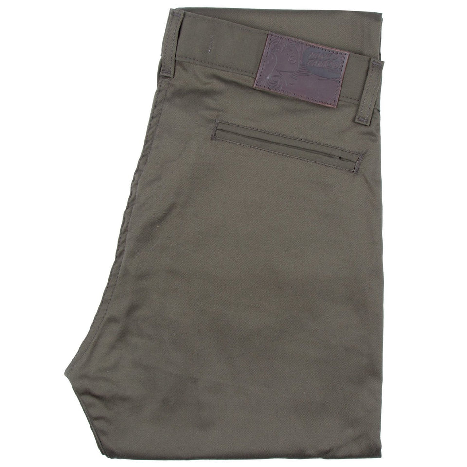 Slim Chino Stretch Twill Khaki Green - marsclothing