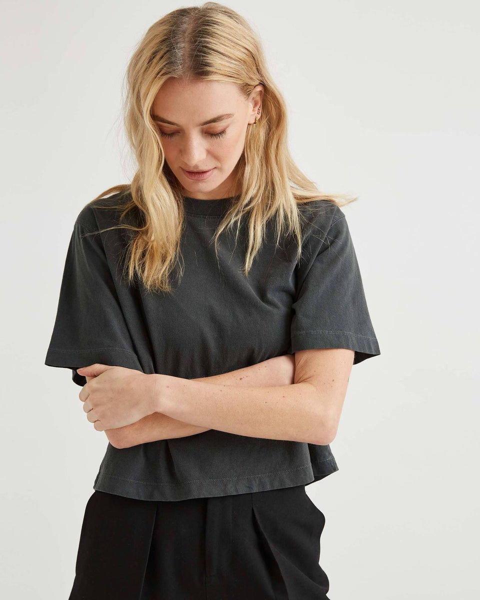 Relaxed Crop Tee Stretch Limo - marsclothing