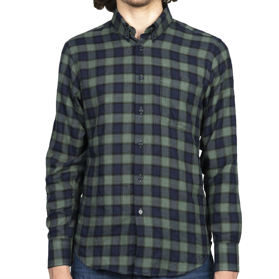 Easy Shirt Herringbone Plaid Green