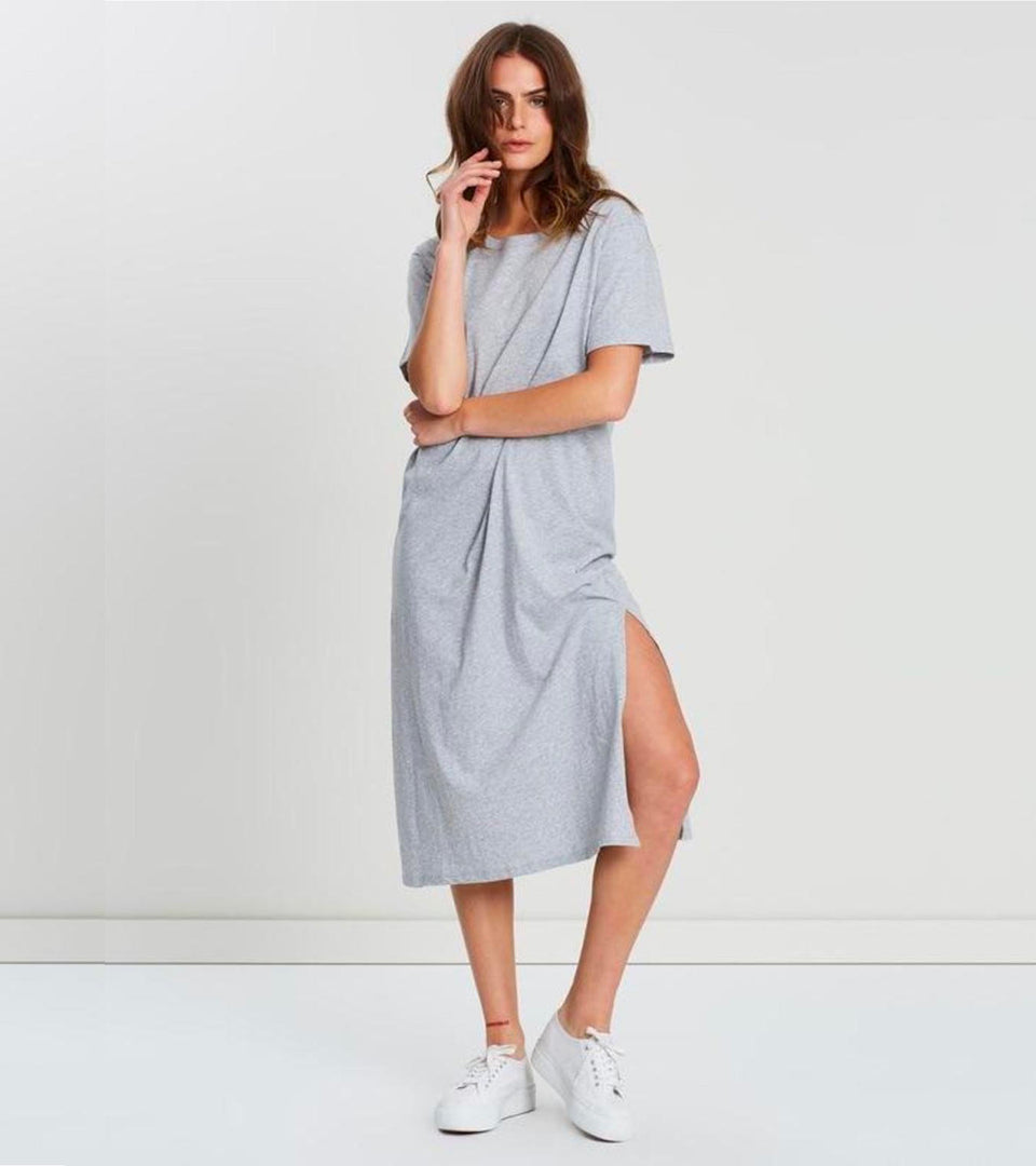 Essential Tee Dress Grey Melange - marsclothing