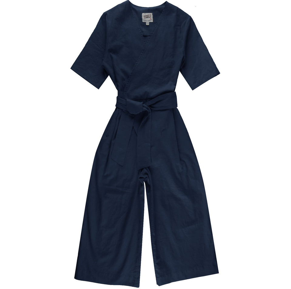 Wrap Jumpsuit Cotton Linen Navy - marsclothing