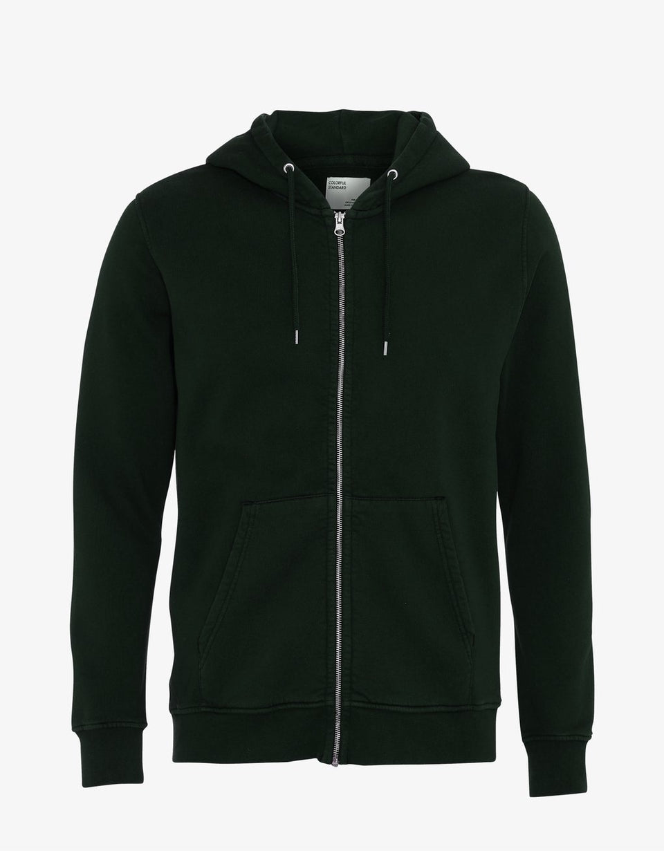 Organic Zip Hood Hunter Green