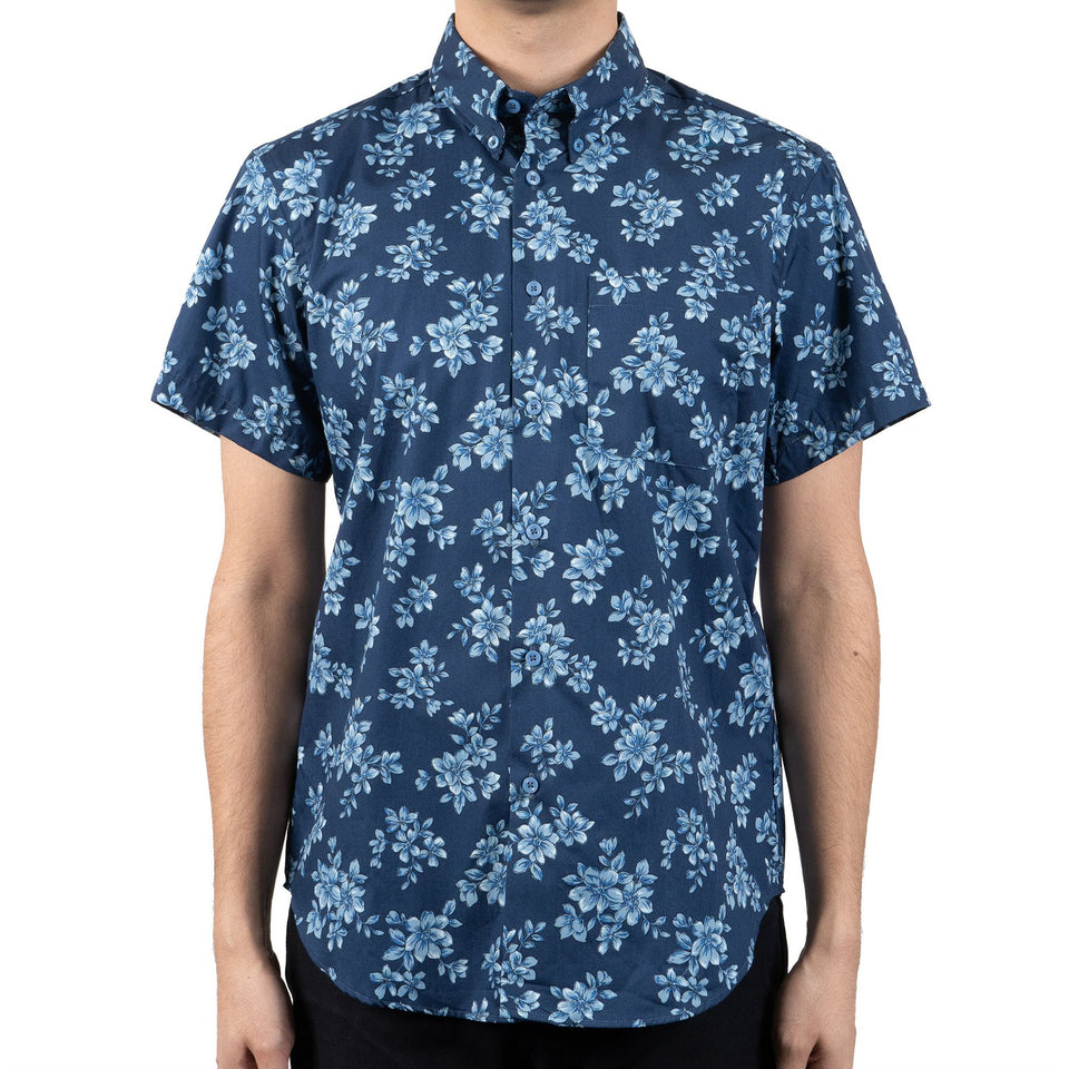 Easy Shirt Short Sleeve Floral Sketch Blue - marsclothing